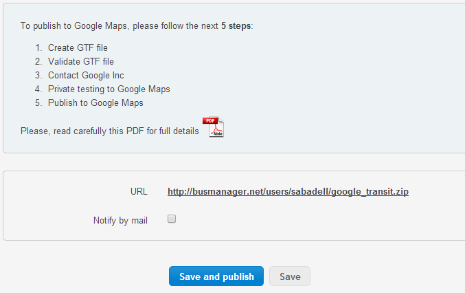 Publish in Google Maps from BusManager | BusManager on save a pdf icon, create pdf, convert to pdf, export to pdf, print to pdf, print as pdf, open pdf, merge pdf, compress pdf, edit pdf, shrink pdf, document pdf,